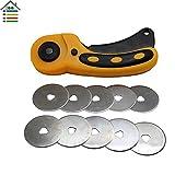 45mm Rotary Cutter Set +10PC Spare Blades Fit Olfa Dafa Fiskars Rotary Cutter Fabric Paper Circular Cut Patchwork Craft Leather