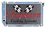 4 Row All Aluminum Replacement Radiator for the 1970-71 Mercury Monterey, Mercury Montego, 1969-71 Mercury Marquis, Mercury Colony Park, 1971-73 Ford Mustang, 1969-71 Ford LTD, Ford Galaxie, Ford Country Squire, or Country Sedan, 1970 Fairlane, 1970-71 Ford Gran Torino, 1970-71 Lincoln Continental- Manufactured by Champion Cooling Systems, Part Number: MC381