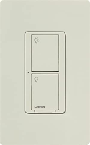 Lutron Caseta Smart Home 6A Switch, Works with Alexa, Apple HomeKit, and Google Assistant | for Ceiling Fans, Exhaust Fans, LED Light Bulbs, Incandescent and Halogen Bulbs | PD-6ANS-LA | Light Almond (Color: Light Almond, Tamaño: 6 Amp)