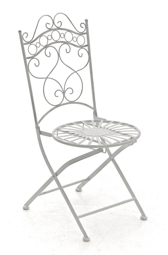 CLP nostalgischer Eisen-Klappstuhl INDRA (aus bis zu 6 Farben wählen) antik weiß günstig bestellen