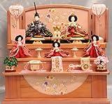 【新作】【雛人形】【ひな人形】【収納三段五人飾り】パールピンク塗り65花うさぎ糸巻き123【ピンクのお雛様】【三段収納飾り雛人形】