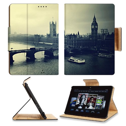 London Big Ben Night River Building Top View Black White Amazon Kindle Fire Hdx 7 [2013 Version Only] Flip Case Stand Magnetic Cover Open Ports Customized Made To Order Support Ready Premium Deluxe Pu Leather 7 11/16 Inch (195Mm) X 5 11/16 Inch (145Mm) X front-927465