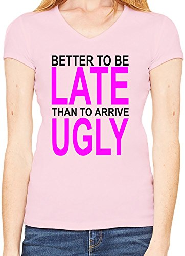 better-to-be-late-slogan-camiseta-cuello-en-v-mujeres-xx-large