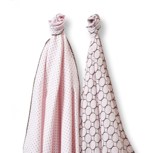 SwaddleDesigns SwaddleDuo, Modern Duo (Set of 2 in Pastel Pink)