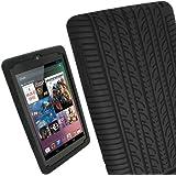 igadgitz Negro Case Neumático Tyre Silicona Funda Cover Carcasa para Google Nexus 7 1° generación Android 4.1 Tablet 8GB 16GB + Protector de pantalla (No es adecuado para la 2° generación salido en Agosto 2013)