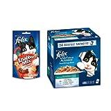 Felix So gut wie es aussieht Katzenfutter Fisch Mix4er Pack, (4 x 24 x 100 g) Beutel/Felix Knabber Mix Katzensnack Grillspaß, 8er Pack (8 x 60 g)