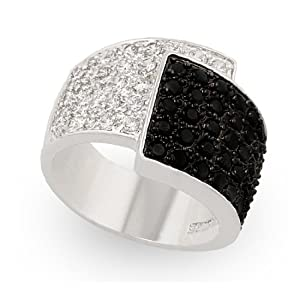 JanKuo Jewelry Silver Tone Cubic Zirconia Clear and Black Diamonique Ring with Gift Box