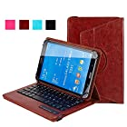 TIWKICH® Universal 7-8 Inch 360 Degree Rotatable Tablet Portfolio Leather Case W/ Detachable Bluetooth Keyboard for Samsung Galaxy Note 8.0 / Tab 2 7.0 / Tab 3 7.0 / Tab 4 7.0 / Tab 3 Lite 7 / Tab 3 8.0 / Tab 4 8.0 / Tab Pro 8.4 / Tab S 8.4 / Tab A 8.0 / Acer A1-810 / W3-810 / iPad Mini / New iPad Mini Retina Display / Asus Memo Pad HD 7 / Dell Venue 8 Pro / Nexus 7 / Nexus 7 HD Support Android / IOS / Windows Systems - Brown