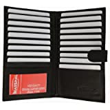 Genuine Leather Credit Card Holder Wallet 19 Card Slots + 1 ID Window With Snap