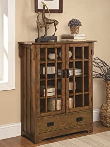 Curio Cabinet With 4 Shelves Distressed Warm Brown Oak
