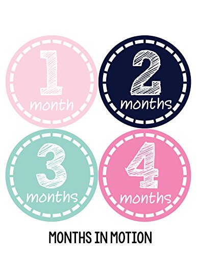 Months in Motion 176 Monthly Baby Stickers Milestone Newborn Girl Pink