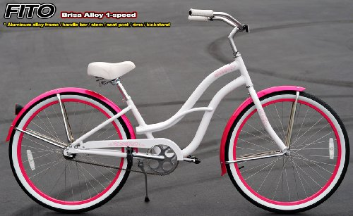 Anti-Rust aluminum frame, Fito Brisa Alloy 1-speed - White/Pink, women's 26