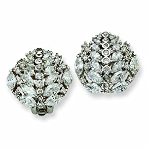 Silver-tone Marquise Swarovski Crystal Clip Earrings