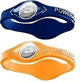 Power Balance Silicone Sports Wristbands-Cypress-Orange-PB-Blue-S-Pack-of-2