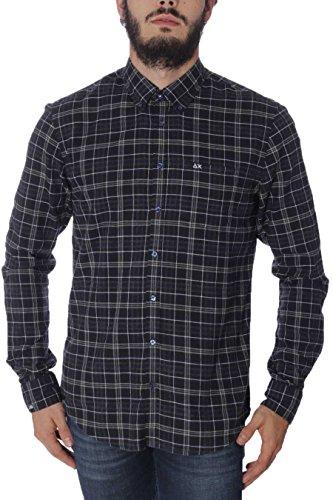 Camicia Uomo Flannel Check B/D Sun68 SH020 4734 Grigio Scuro, M MainApps
