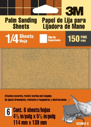 3M 9220ES 4.5-Inch by 5.5-Inch Clip-On Palm Sander Sheets, Fine grit, 6-sheet