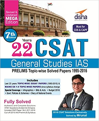Upto 50% Off On Books By Amazon | 22 Years CSAT General Studies IAS Prelims Topic-wise Solved Papers 1995-2016 @ Rs.232
