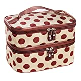 Kingfansion Double Layer Cosmetic Bag Travel Toiletry Makeup Bag (Beige)