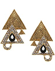 Bindhani Gold Plated Triangle Black Stone CZ Hanging Earrings For Girls