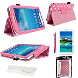 Foxnovo® Polka Dot Hot Flip PU Leather Case Cover for Samsung Galaxy Tab 3 7.0 P3200 / P3210 / T210 / T211 & Stylus Pen & Screen Guard & Cleaning Cloth (Pink)