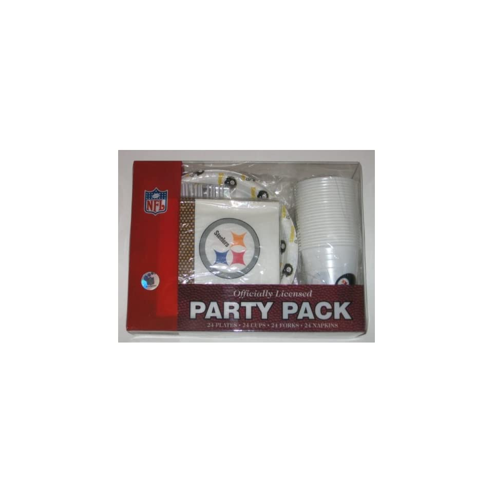 PITTSBURGH STEELERS Team Logo Plastic / Paper PARTY PACK for 24 People ( Plates, Napkins , Cups , Forks )