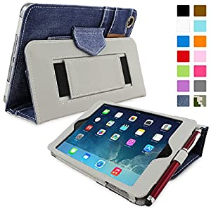 Snugg iPad Mini & Mini 2 Case - Smart Cover with Flip Stand & Lifetime Guarantee (Blue Denim) for Apple iPad Mini & Mini 2 with Retina
