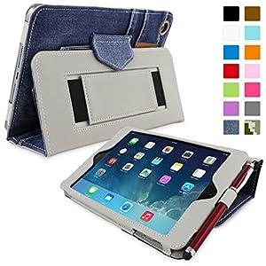 Snugg Étui Pour iPad Mini & Mini 2 - Smart Cover Avec Support Pied Et Une Garantie à Vie (En Cuir Bleu Jean) Pour Apple iPad Mini & Mini 2