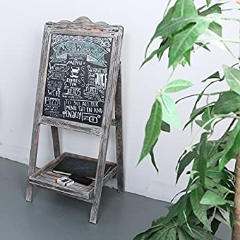 MyGift Torched Wood Chalkboard Easel, Freestanding Vintage Sign Blackboard, Brown