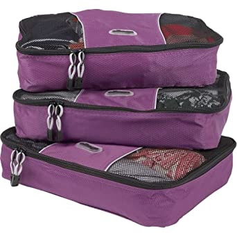 eBags Medium Packing Cubes - 3pc Set (Eggplant)