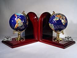 """7"""" Tall pair of Gem Jewel Gemstone World Map Globe Globes Bookend Bookends"""
