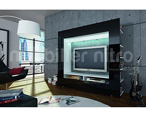 Meuble Tv Design Ibiza A Led : Meuble Tv Mural Design Velio Noir à Led Meuble Tv Mural Design Velio