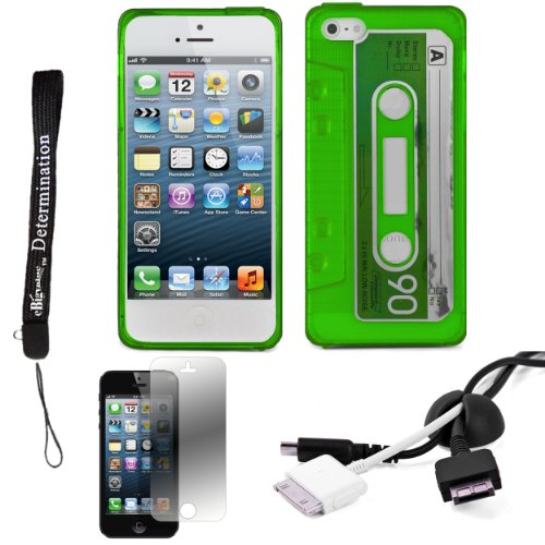 Green Tpu Audio Cassette Protective Skin For Apple Iphone 5 Ios (6) Smart Phone + Black Cord Organizer + Apple Iphone 5 Screen Protector + An Ebigvalue Tm Determination Hand Strap