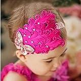 Joy Baby Red Feather Hairband Rose Bow Headband