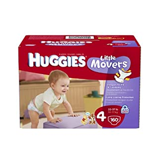 Huggies little movers diapers size 4 economy plus, 160 count