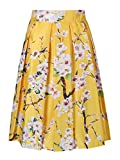 Choies Women's Yellow Sakura Print High Waist Pleated Skater Skirt