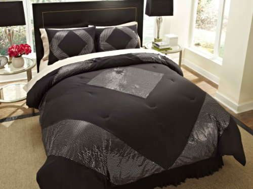 Divatex 75 Gsm Metallic Printed Bling Microfiber Dot Full/Queen Mini Comforter Set, Black/Silver