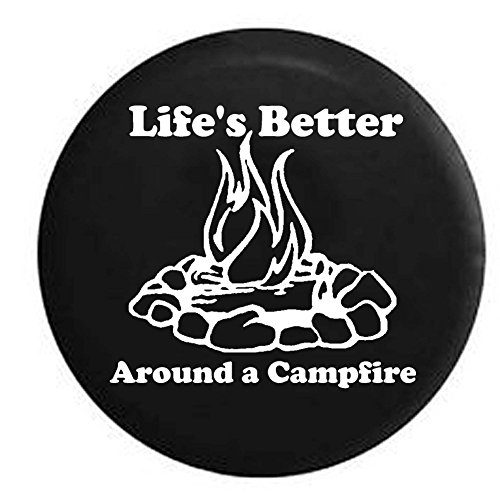 Pike Life's Better Around a Campfire Camping Trailer RV Spare Tire Cover OEM Vinyl Black 29 in (Camping Spare Tire Cover compare prices)