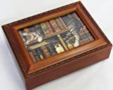 Cat Sleeping in Library Wooden Music Box Plays Thats What Friends are For MB249