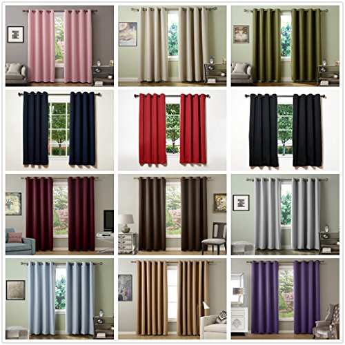 Chadmade Solid Thermal Insulated Blackout Curtains Drapes Antique Bronze Grommet / Eyelet Wheat 52Wx84L Inch (Set of 2 Panels) (Wheat Cutting Machine compare prices)