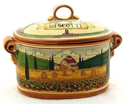 Paesaggio Toscana: Oval Biscotti Canister Jar [#p45p-pae]