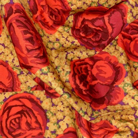 Kaffe Fassett Gold & Red Forget Me Not Rose Patchwork Fabric per meter
