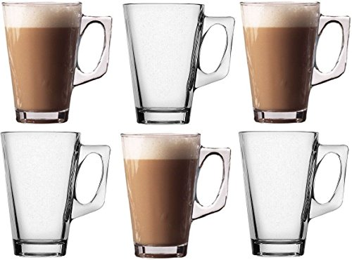 takestop® SET 6 TAZZINE 225ml TAZZA DA CAPPUCCINO LATTE BEVANDA CALDA THE' IN VETRO CON MANICO BICCHIERE BAR