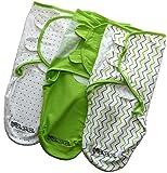 Baby Pucksack, 3er Set, 100% Premium Baumwolle, Extra Feste Klettverschluss-Nähte, Ideal für Säuglinge und Schreibabys (0-3 Monate, 3-6 kg), für Sommer, Herbst Winter und Frühling