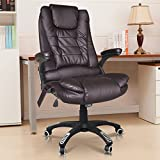 Tinxs Real Bonded Leather Deluxe Executive Reclining & Massage Massaging Leather Office Chair With 6 Point Massage High Back Computer Desk 360 Swivel-three colors to choose from (Brown)