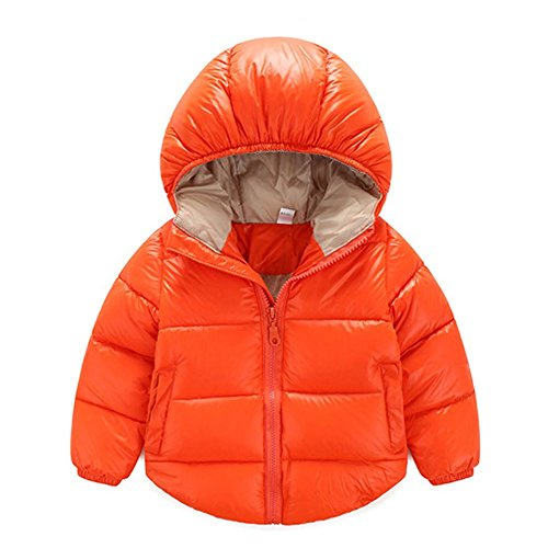 Toddler Baby Boys Girls Outerwear Hooded coats Winter Jacket Kids Clothes, 3-4 Years, Orange