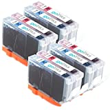 4 Compatible Canon CLI-8 Photo Ink Multipack Sets (8 Inks) - Photo Cyan & Photo Magenta Printer Ink Cartridges for Canon Pixma iP6600D, iP6700D, MP950, MP960, MP970, Pro 9000 & Pro 9000 Mark II