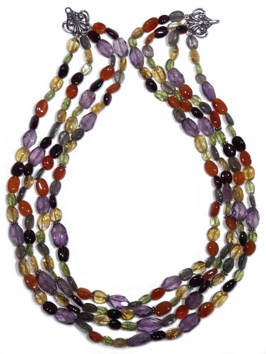 Sterling Silver Four-Strand Multi-Gemstone Beaded Necklace, 16