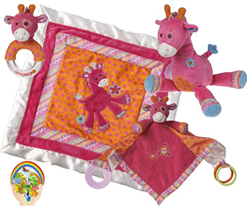 Mary Meyer Baby Girl Delight: Jasmine Giraffe Cozy and Activity Blankets, Toy, Rattle - Hot Pink Newborn Set of 4 Favorites with Bonus Animals Sticker