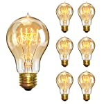 KINGSO Vintage Edison Bulbs 40W Filament Incandescent Antique Dimmable Light Bulb for Home Light Fixtures E27 Base A19 110V - 6 Pack