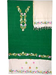 Darrshini-Designs Cotton Dress Material Hand-Painted Color's Green and Creme Salwar Kameez with hand-painted dupatta